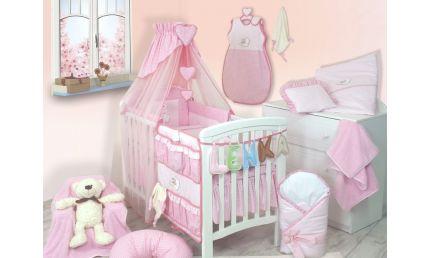 Gigant pakke til baby  - sengerand, dyne, pude, pudebetræk, dynebetræk, lagen, sengelomme, babyomslag, sengehimmel, deco hjerter