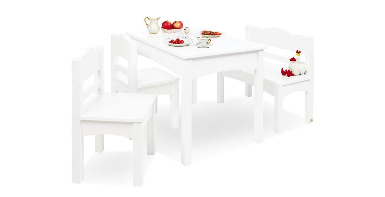 Pinolino Børnebord, Bænk Og Stolesæt, Martha/hvid/træ