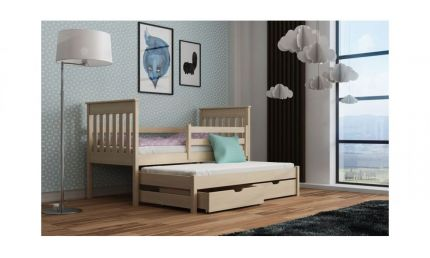 Seng William 80x180 med soveskuffe og 2 opbevaringsskuffer